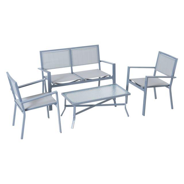 OUTSUNNY Ensemble salon de jardin meuble de jardin 4 places en textilène 1 canapé + 2 fauteuils + 1 table casse cadre en acier gr