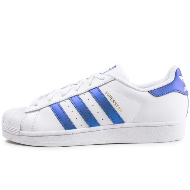 factory authentic 435e0 f2330 Adidas - Superstar Blanc Et Bleu Métallique