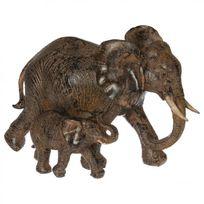 Paris Prix - Statue Éléphant en Résine 15cm Marron