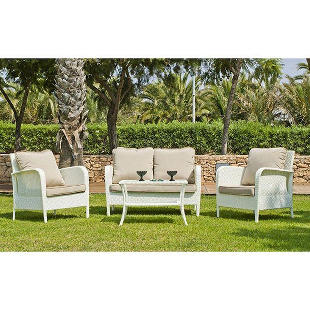 Hevea Jardin Salon de jardin 4 places Anabel 7 avec coussin Elsa en dralon
