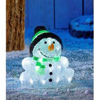 No Name - Bonhomme de neige avec bonnet extérieur Ip44 sans branchement électrique - Autonome avec Timer - 30 Led blanches