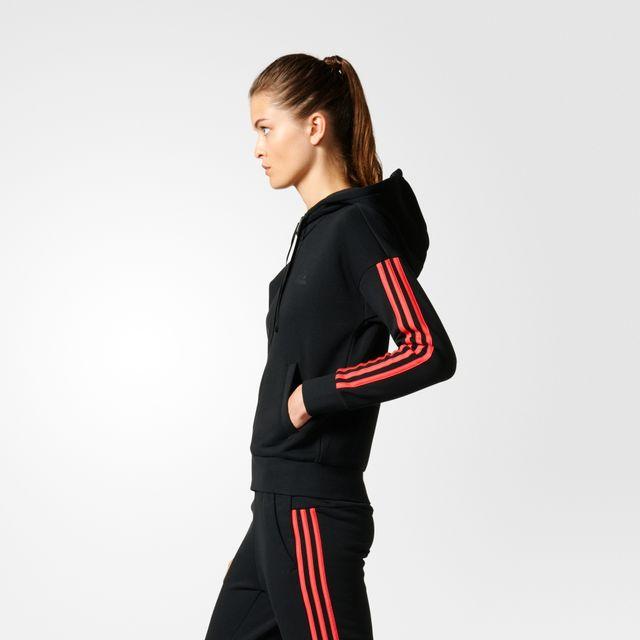 Adidas - Veste à capuche femme Essentials 3-Stripes noir rose saumon - XS -  pas cher Achat   Vente Tee-shirts 1e14bce6024