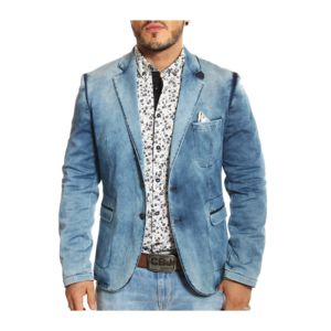 rnt23 jeans rnt23 blazer vintage en jeans bleu clair pas cher achat vente veste homme. Black Bedroom Furniture Sets. Home Design Ideas
