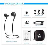 Alpexe - Ecouteur Bluetooth 4.1 intra-auriculaire Casque sans fil sport Oreillette stéréo anti-transpirationde course jogging avec le microphone intégré QY8 Noir