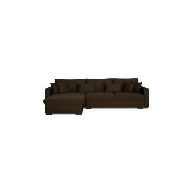 Sans Marque Malma Canape Dangle Reversible Convertible 5 Places + Coffre De Rangement - Tissu Marron - Classique - L 290 X P 103 - 1
