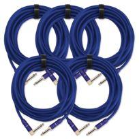 Pronomic - 5x Set Trendline Inst-6B câble à instrument 6 m bleu