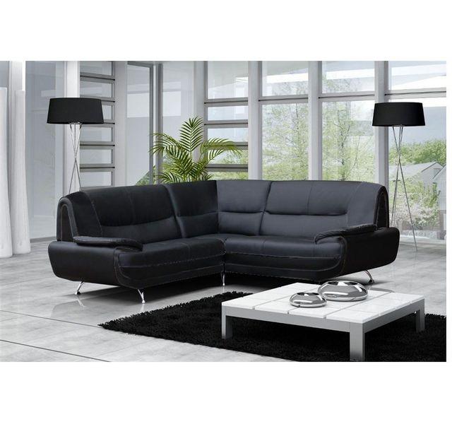 CHLOE DESIGN Canapé d'angle moderne jenna - reversible - Réversible - noir