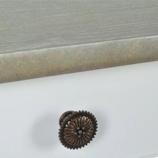 Icaverne - Bouts de canapé collection Table console MDF Blanc et marron grisâtre
