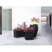 Beliani - Cache-pot de fleurs - noir - pot extérieur- cube - 40x40x40 cm - Pulu