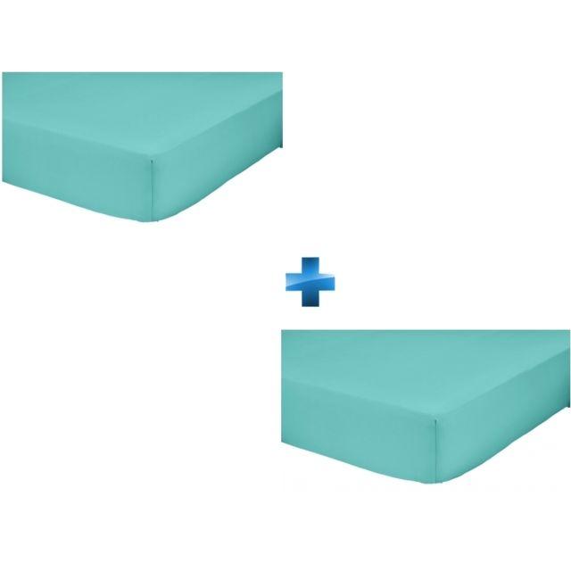 TEX HOME   Lot de 2 draps housse Bleu clair 160x200cm   UNI COTON