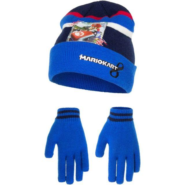 70266d40180aa Marque Generique - Bonnet Gants Mario Kart Bleu Taille 54 Disney Nintendo