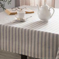 Comptoir Des Toiles - Nappe carrée larges rayures coton/polyester enduit gris 135x135cm Daphneenc
