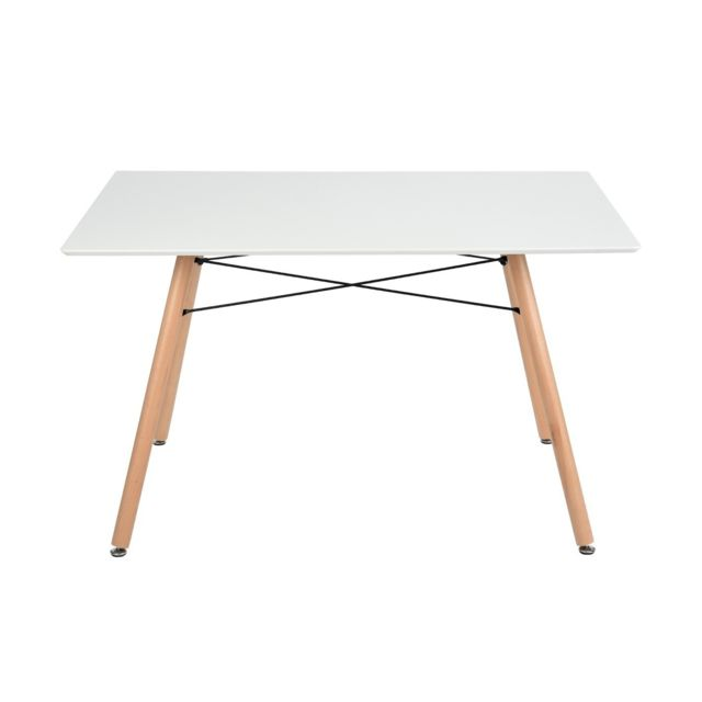 Calicosy Table rectangulaire design blanc