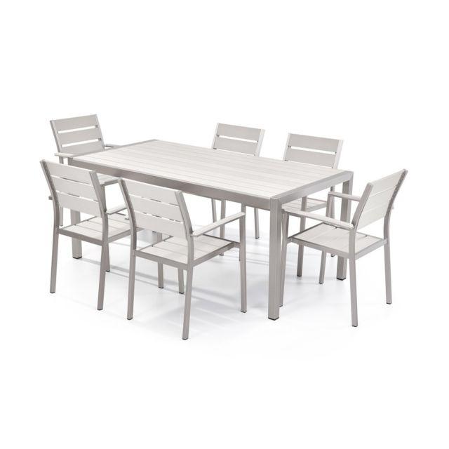 beliani table de jardin et 6 chaises aluminium plateau en plastique blanc 180 cm vernio pas. Black Bedroom Furniture Sets. Home Design Ideas