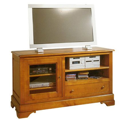 Meuble Tv hi-fi 1 porte 1 tiroir 2 niches en chêne massif