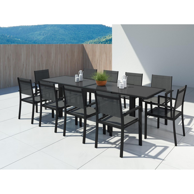 Hara Xl - Table de jardin extensible aluminium 140/280cm + 10 fauteuils textilène Noir