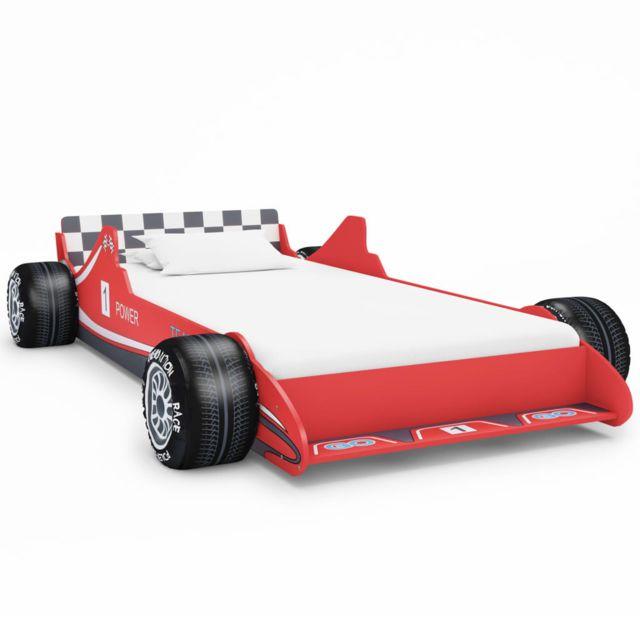 Distingué Mobilier pour bébés & tout-petits edition Londres Lit voiture de course pour enfants 90 x 200 cm Rouge