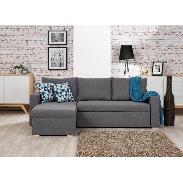 bestmobilier oakland canap d 39 angle convertible r versible gris clair 225 x 145 x 85cm. Black Bedroom Furniture Sets. Home Design Ideas