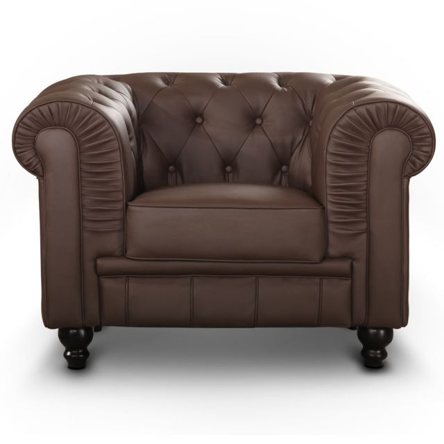 MENZZO Grand fauteuil Chesterfield Marron