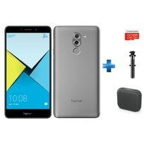 HONOR - 6X - Grey + Enceintes bluetooth M-312 Muse Noir + Carte Micro SDHC 32 Go EVO+ + Perche à Selfie filaire pour smartphone et iPhone - Noire