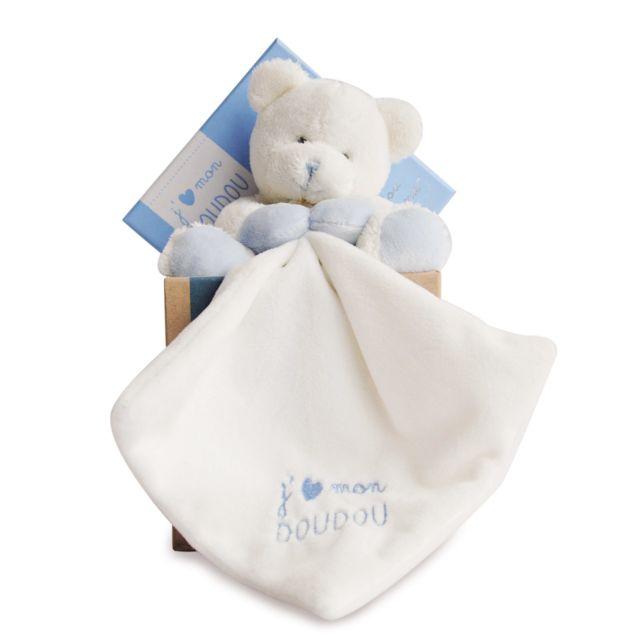 Doudou Et Compagnie J'aime mon doudou : Peluche et doudou ours bleu