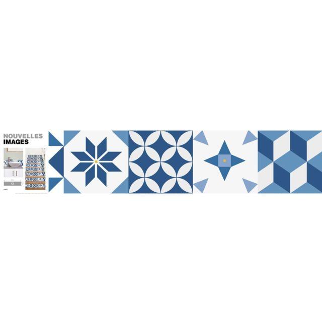Nouvelles Images Bandes Adhésives Motif Carreau De Ciment Bleu