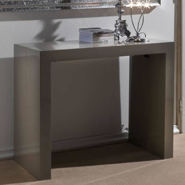 Inside 75 console extensible magika taupe brillant pas - Console extensible taupe ...