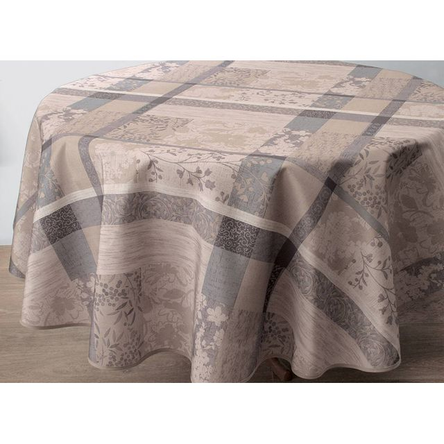 le linge de jules nappe anti taches jacquard taupe. Black Bedroom Furniture Sets. Home Design Ideas
