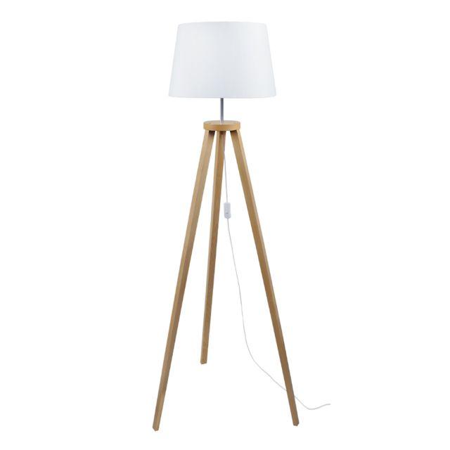 TOSEL MALMÖ, Lampadaire 1 lumière Lampadaire Bois Hêtre, abat-jour coton,Bois massif/Blanc,E27,40W; 40 x 155 cm