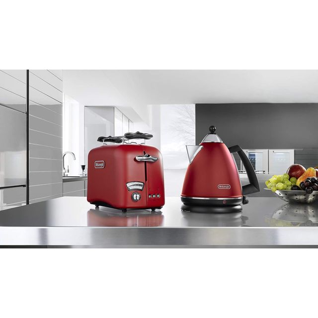 Delonghi bouilloire électrique de 1,7L sans fil 2000W rouge noir