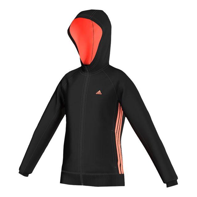 Adidas Veste Essentials Mid 3 Stripes Full Zip noir orange