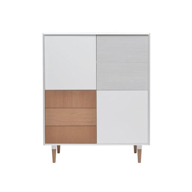 Francodim International Buffet bois blanc 3 portes 3 tiroirs Tempora