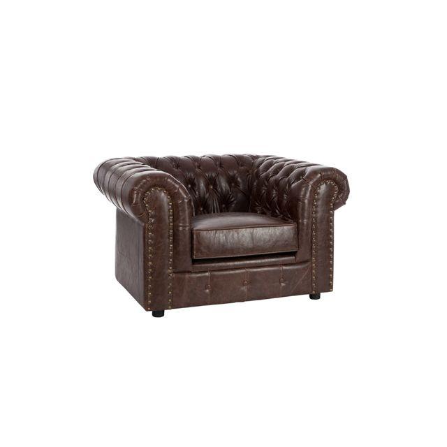 Sofa à boutons pieds bois noir en Pu coloris brun - Jules