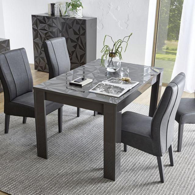 Kasalinea Table extensible grise laquée design 137 cm Nino 2