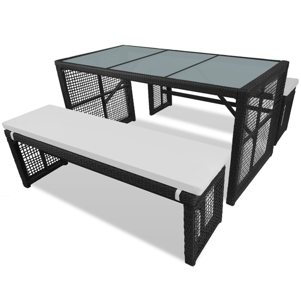 Rocambolesk Superbe Meuble d'extérieur 1 table et 2 bancs en poly rotin noir Neuf