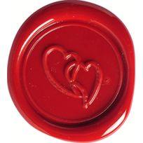 Herbin - Set Sceau Motif Coeur + Cire Traditionnelle Rouge