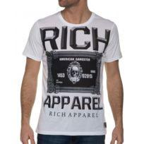 Celebry tees - T-shirt Blanc Imprimé Effet Délavé Homme