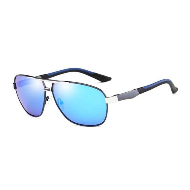 e84993a192 Wewoo - Lunettes de soleil argent et bleu Hommes Mode Uv400  Aluminium-magnésium alliage cadre