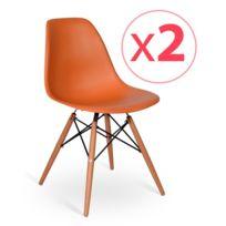 Novara Mobili - Pack 2 chaises Wood Style Orange avec pieds en bois de hêtre