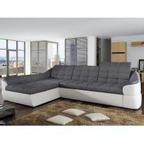 MARQUE GENERIQUE - Canapé d angle convertible en tissu et simili FAREZ -  Bicolore gris 34d79248b3d3