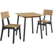 Salon De Jardin - Ensemble Table Chaise Fauteuil De Jardin Ensemble repas  de jardin - table 70x70cm et 2 chaises - structure peinte en noire - En ...