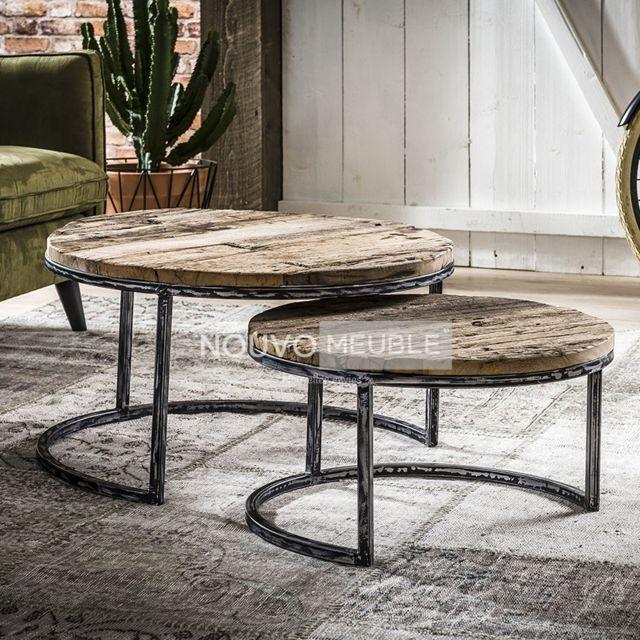 Nouvomeuble Table gigogne en bois et métal Kentucky