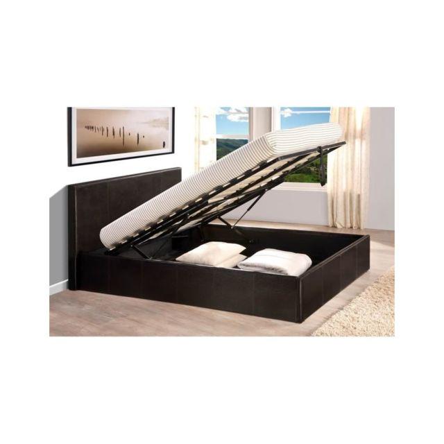 usines discount lit coffre 160 x 200 cm avec sommier chocolat pas cher achat vente. Black Bedroom Furniture Sets. Home Design Ideas