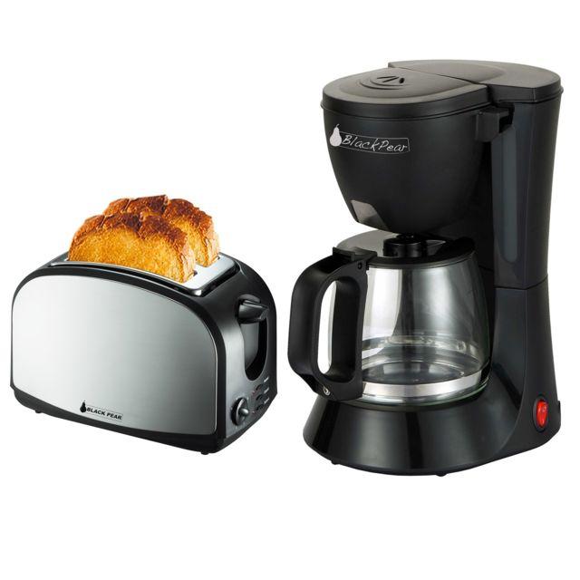 Blackpear Cafetière noir 12 tasses/1.2L - 680W - Bcm112 + Grille pain finition inox 900W