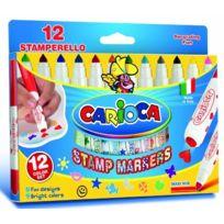 Carioca - Feutre Tampon Superwashable 12 PiÈCES = 12 Couleurs Et 12 Motifs De Tampon, Lot De 1UNITÉ S