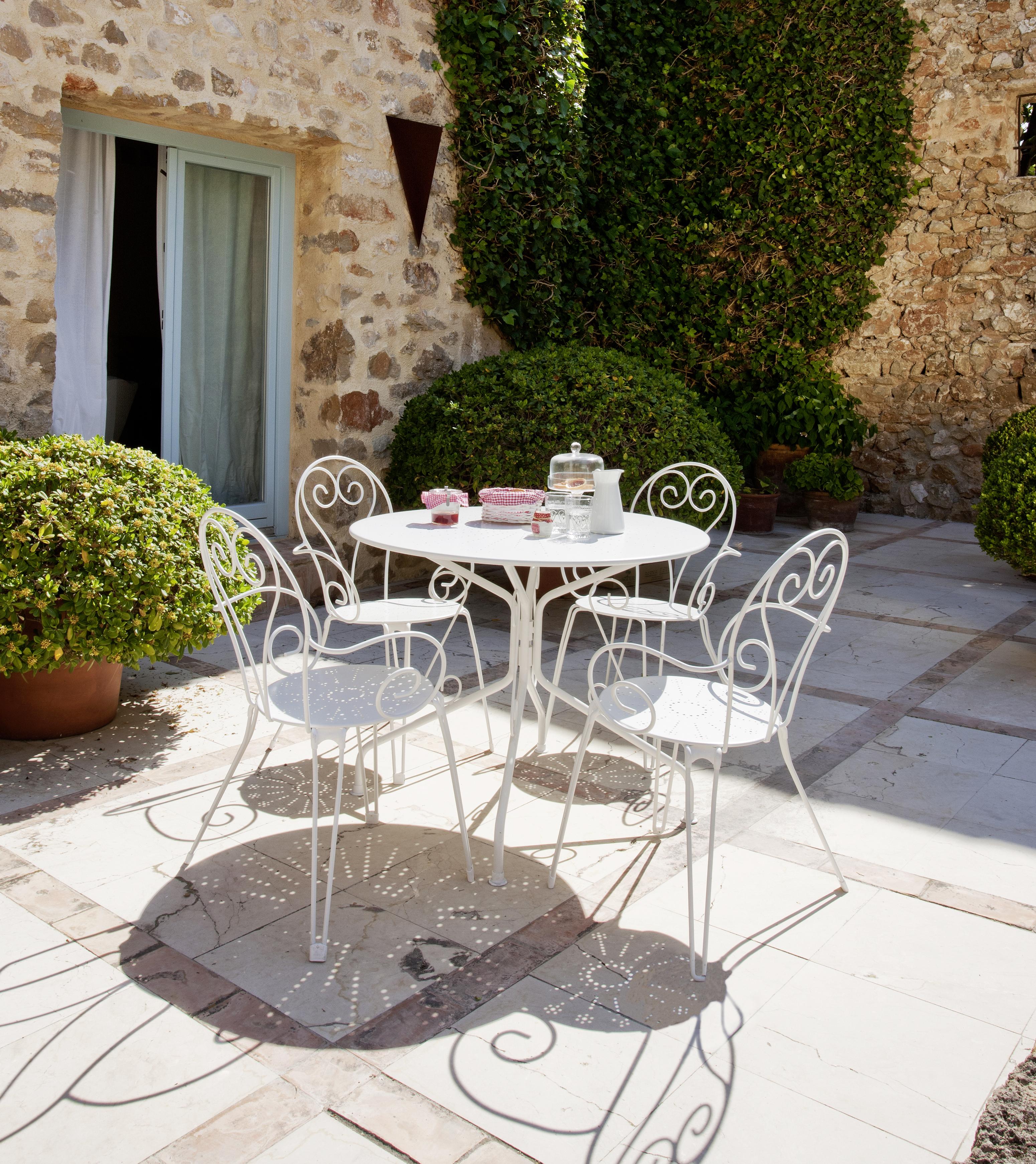 Table de jardin ronde romantique - Blanc