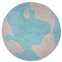 Nattiot - Tapis 100% coton tufté main bleu et blanc planète D.110cm Mondito