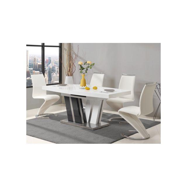 Marque generique table manger extensible noami 6 8 couverts mdf laqu gris blanc for Carrefour table a manger