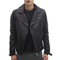 Blouson Cuir Agneau style perfecto matelassé Couleur noir, Taille Homme S