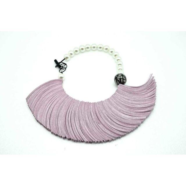 Cestmoilaplusbelle Collier suédine et perles Rose - Christina Brampti